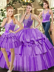 Perfect Eggplant Purple Sleeveless Organza Lace Up Sweet 16 Quinceanera Dress for Military Ball and Sweet 16 and Quinceanera