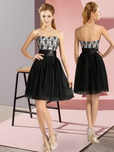 Custom Design Sleeveless Chiffon Mini Length Zipper in Black with Lace
