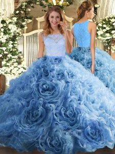 Trendy Baby Blue Ball Gowns Scoop Sleeveless Fabric With Rolling Flowers Floor Length Zipper Beading and Ruffles Sweet 16 Quinceanera Dress