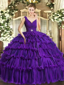 Purple V-neck Backless Beading and Ruffled Layers Ball Gown Prom Dress Sleeveless