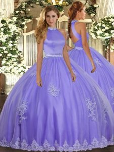 Delicate Lavender Ball Gowns Halter Top Sleeveless Tulle Floor Length Backless Beading and Appliques Quinceanera Gown