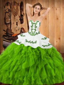 Ball Gowns Satin and Organza Strapless Sleeveless Embroidery and Ruffles Floor Length Lace Up Quinceanera Dresses