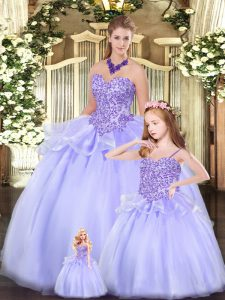 Custom Fit Lavender Ball Gown Prom Dress Military Ball and Sweet 16 and Quinceanera with Beading Sweetheart Sleeveless Lace Up