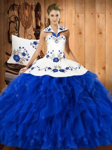 Blue And White Satin and Organza Lace Up 15th Birthday Dress Sleeveless Floor Length Embroidery and Ruffles