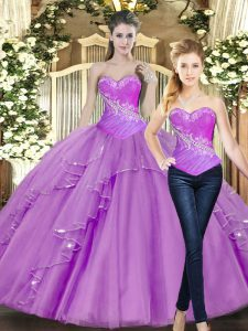 Lilac Tulle Lace Up Sweetheart Sleeveless Floor Length 15th Birthday Dress Beading