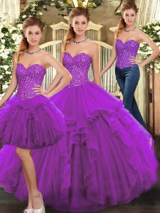 Cheap Sweetheart Sleeveless Organza Sweet 16 Dress Ruffles Lace Up