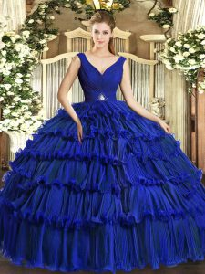 Sophisticated Royal Blue Backless V-neck Beading and Ruffled Layers Ball Gown Prom Dress Organza Sleeveless