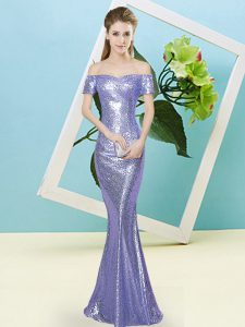 Lavender Mermaid Off The Shoulder Short Sleeves Sequined Floor Length Zipper Sequins Prom Dress