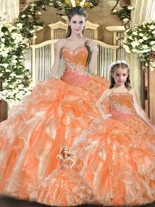 Orange Red Ball Gowns Sweetheart Sleeveless Tulle Floor Length Lace Up Beading and Ruffles Quinceanera Gowns