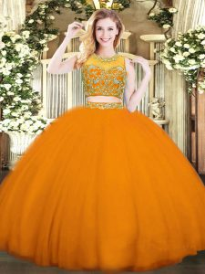 New Style Floor Length Two Pieces Sleeveless Orange Red Quinceanera Gowns Zipper
