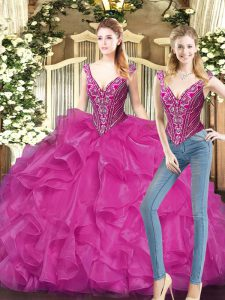 Glamorous Sleeveless Floor Length Ruffles Lace Up Quinceanera Gown with Fuchsia