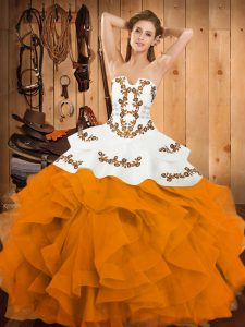 Customized Sleeveless Lace Up Floor Length Embroidery and Ruffles 15th Birthday Dress