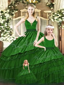 Green Organza Lace Up Quince Ball Gowns Sleeveless Floor Length Beading and Embroidery and Ruffled Layers