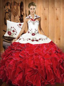 White And Red Sleeveless Embroidery and Ruffles Floor Length Ball Gown Prom Dress