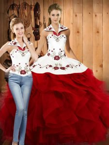 Wine Red Two Pieces Embroidery and Ruffles Quinceanera Gown Lace Up Satin and Organza Sleeveless Floor Length