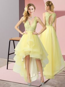 Fitting Yellow A-line V-neck Sleeveless Tulle High Low Backless Beading and Lace Wedding Party Dress