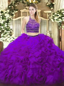 Stylish Eggplant Purple Tulle Lace Up Vestidos de Quinceanera Sleeveless Floor Length Beading and Ruffles