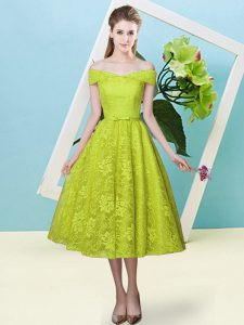 Off The Shoulder Cap Sleeves Quinceanera Court of Honor Dress Tea Length Bowknot Olive Green Lace