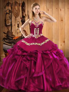 Fantastic Embroidery and Ruffles Sweet 16 Quinceanera Dress Fuchsia Lace Up Sleeveless Floor Length