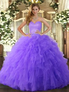 Elegant Floor Length Ball Gowns Sleeveless Lavender Quinceanera Dresses Lace Up