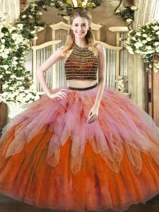 Pretty Tulle Sleeveless Floor Length 15 Quinceanera Dress and Beading and Ruffles