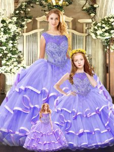Sleeveless Organza Floor Length Lace Up Quinceanera Gowns in Lavender with Beading and Ruffled Layers