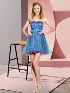 Multi-color Tulle Lace Up Bridesmaid Dresses Sleeveless Mini Length Beading and Sequins