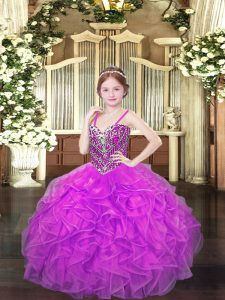 Beauteous Organza Spaghetti Straps Sleeveless Lace Up Beading and Ruffles Glitz Pageant Dress in Lilac
