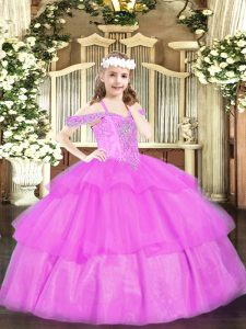 Lilac Ball Gowns Off The Shoulder Sleeveless Organza Floor Length Lace Up Beading and Ruffled Layers Pageant Dress for Teens