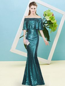 Off The Shoulder Sleeveless Homecoming Dress Floor Length Sequins Teal Sequined