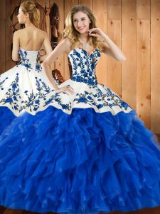 Blue Sleeveless Embroidery and Ruffles Floor Length Quinceanera Gown