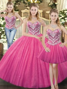 Hot Pink Ball Gowns Tulle Sweetheart Sleeveless Beading Floor Length Lace Up Sweet 16 Dress