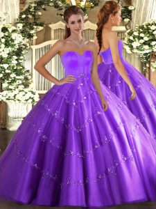 Dynamic Eggplant Purple Ball Gowns Tulle Sweetheart Sleeveless Beading and Appliques Floor Length Lace Up Sweet 16 Dress