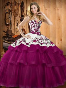 Organza Sweetheart Sleeveless Lace Up Embroidery Sweet 16 Dress in Fuchsia