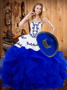 Exquisite Floor Length Blue Quinceanera Dresses Satin and Organza Sleeveless Embroidery and Ruffles