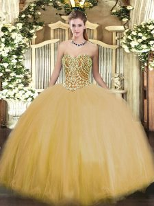 Smart Floor Length Ball Gowns Sleeveless Gold Sweet 16 Dresses Lace Up