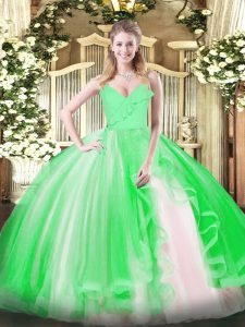 High Class Quinceanera Gowns Military Ball and Sweet 16 and Quinceanera with Ruffles Spaghetti Straps Sleeveless Zipper
