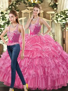 Dramatic Hot Pink Sleeveless Beading and Ruffles and Pick Ups Floor Length 15 Quinceanera Dress