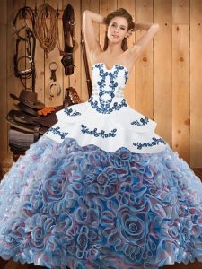 Spectacular With Train Ball Gowns Sleeveless Multi-color 15 Quinceanera Dress Sweep Train Lace Up