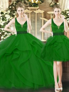 Popular Floor Length Lace Up Sweet 16 Quinceanera Dress Green for Military Ball and Sweet 16 and Quinceanera with Beading and Ruffles