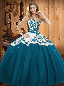 New Style Teal Sleeveless Satin and Tulle Lace Up 15 Quinceanera Dress for Military Ball and Sweet 16 and Quinceanera