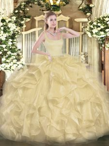 Traditional Ball Gowns 15 Quinceanera Dress Gold Straps Organza Sleeveless Floor Length Zipper