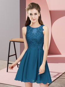Attractive Chiffon Sleeveless Mini Length Damas Dress and Appliques