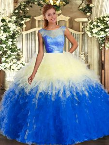 Top Selling Multi-color Scoop Neckline Lace and Ruffles Vestidos de Quinceanera Sleeveless Backless