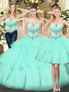 Hot Sale Apple Green Sleeveless Floor Length Beading and Ruffled Layers Lace Up Quinceanera Dress