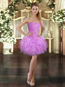 Lilac Ball Gowns Beading and Ruffles Homecoming Dress Lace Up Organza Sleeveless Mini Length