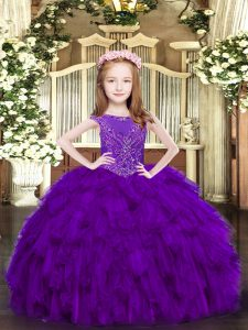 Scoop Sleeveless Pageant Gowns For Girls Floor Length Beading and Ruffles Purple Organza