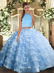 Inexpensive Halter Top Sleeveless Organza Quinceanera Gown Beading and Ruffled Layers Backless