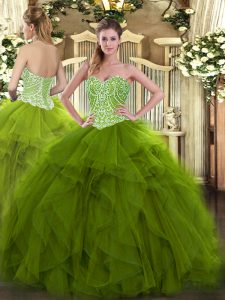 Sumptuous Olive Green Lace Up 15 Quinceanera Dress Beading and Ruffles Sleeveless Floor Length