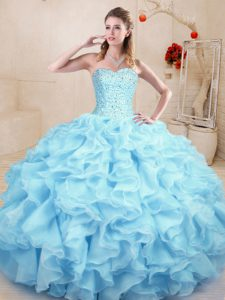Cheap Light Blue Ball Gowns Ruffles Sweet 16 Quinceanera Dress Lace Up Organza Sleeveless Floor Length